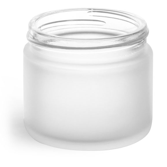 2 oz Frosted Glass Straight Sided Jars (Bulk), Caps Not Included