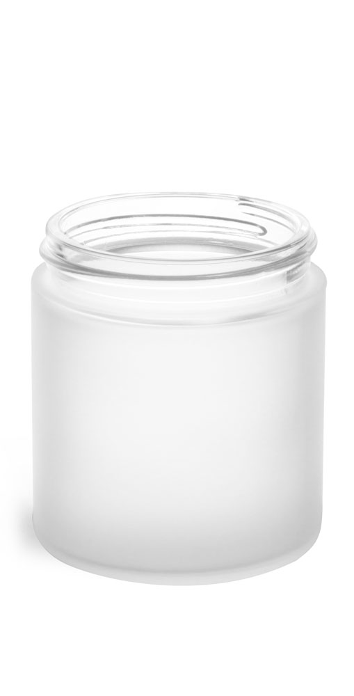 4 oz Frosted Glass Straight Sided Jars (Bulk), Caps Not Included