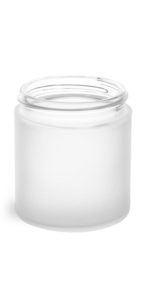 8 oz Frosted Glass Straight Sided Jars (Bulk), Caps Not Included
