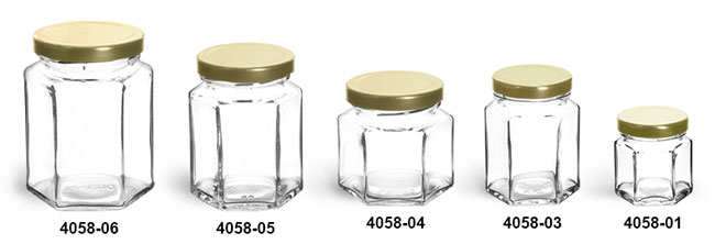 Glass Jars, Clear Glass Hexagon Jars w/ Gold Lug Caps