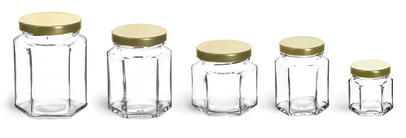 Clear Glass Jars, Clear Glass Hexagon Jars w/ Gold Lug Caps