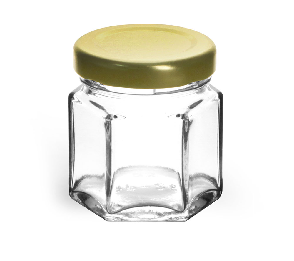 1 1/2 oz Clear Glass Hexagon Jars w/ Gold Lug Caps