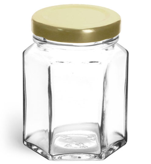 3 3/4 oz Clear Glass Hexagon Jars w/ Gold Lug Caps