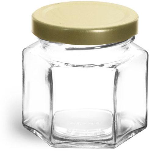 Clear Glass Hexagon Jars w/ Gold Lug Caps