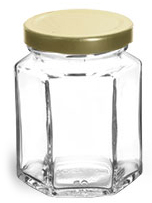 6 oz Clear Glass Hexagon Jars w/ Gold Lug Caps