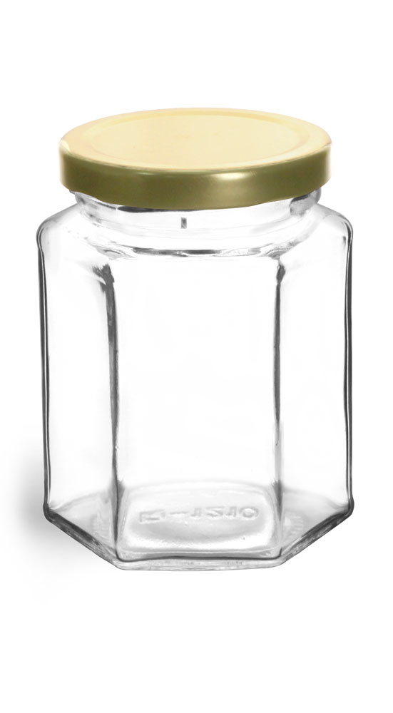 9 oz Clear Glass Hexagon Jars w/ Gold Lug Caps