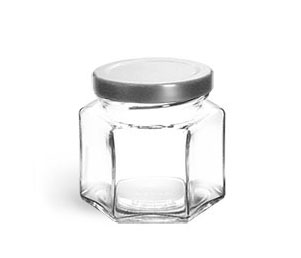 Clear Glass Jars, Clear Glass Hexagon Jars w/ Silver Metal Lug Caps