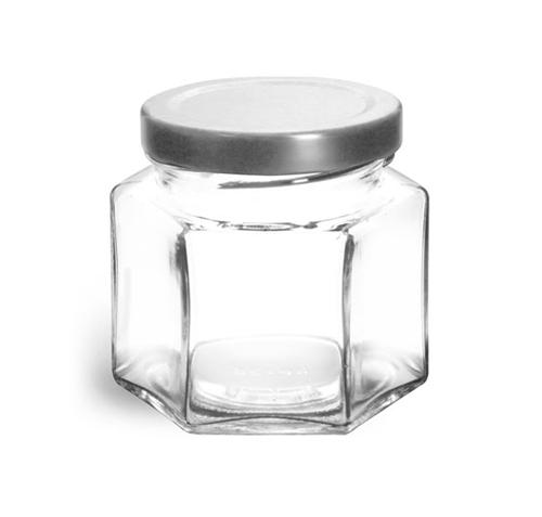 Clear Glass Hexagon Jars w/ Silver Metal Lug Caps