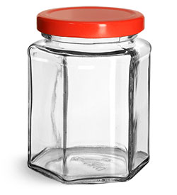 Clear Glass Jars, Clear Glass Hexagon Jars w/ Red Metal Plastisol Lined Lug Caps