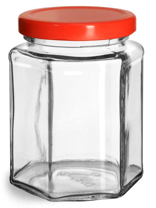 Glass Jars, Clear Glass Hexagon Jars w/ Red Metal Plastisol Lined Lug Caps