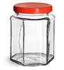 Clear Glass Hexagon Jars w/ Red Metal Plastisol Lined Lug Caps