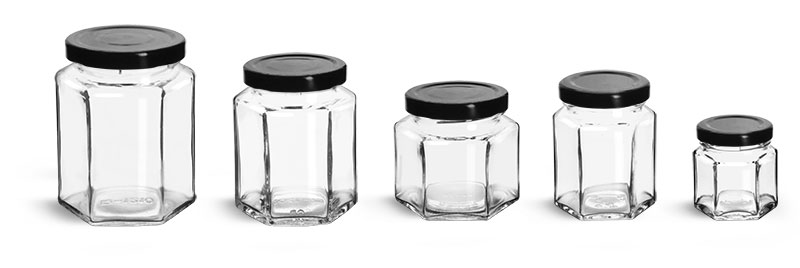 Clear Glass Jars, Clear Glass Hexagon Jars w/ Black Metal Lug Caps'