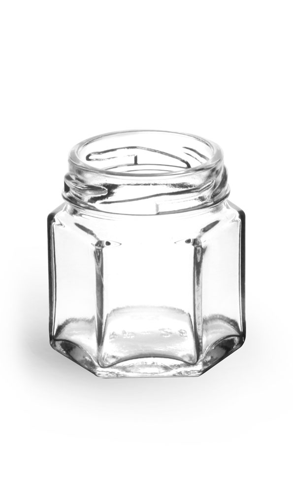 1 1/2 oz Clear Glass Hexagon Jars (Bulk), Caps NOT Included