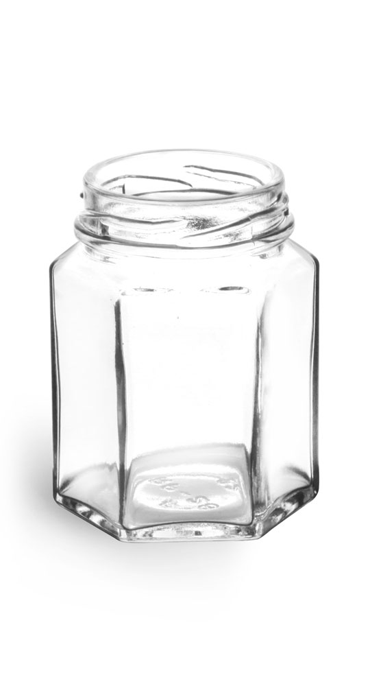 3 3/4 oz Clear Glass Hexagon Jars (Bulk), Caps NOT Included