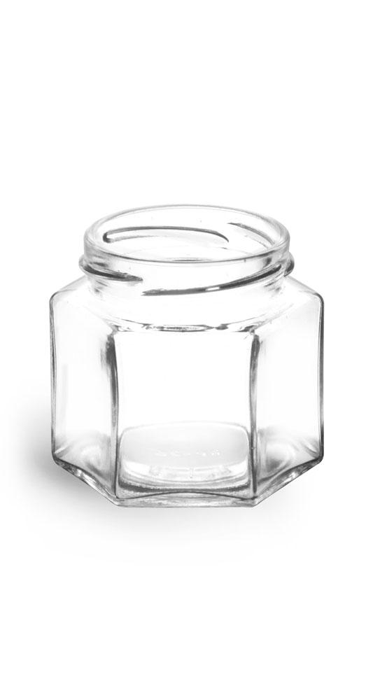Clear Glass Hexagon Jars (Bulk), Caps NOT Included