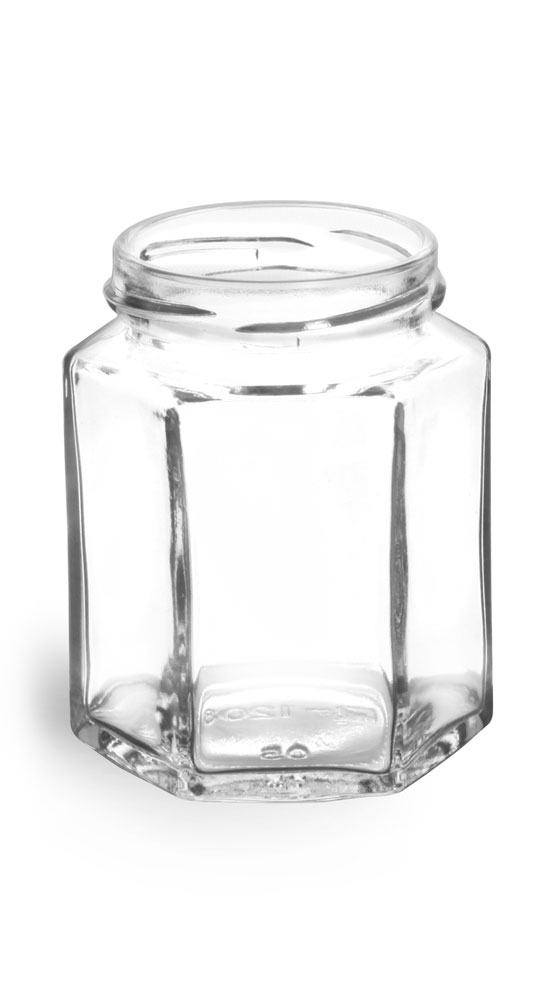 6 oz Clear Glass Hexagon Jars (Bulk), Caps NOT Included