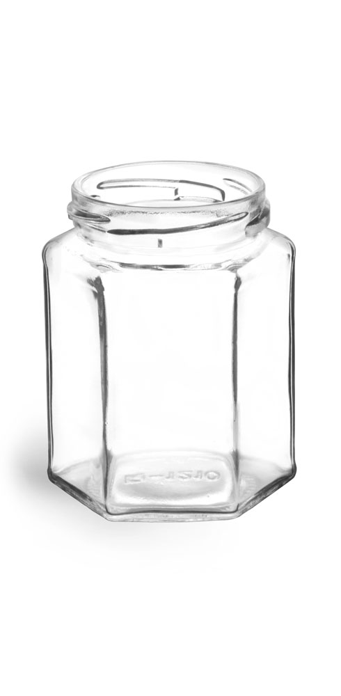 9 oz Clear Glass Hexagon Jars (Bulk), Caps NOT Included