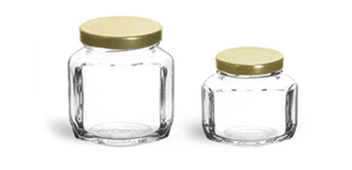 Clear Glass Jars, Clear Glass Oval Hexagon Jar w/ Gold Lug Caps'