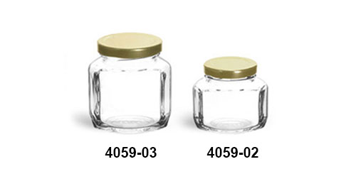 Clear Glass Jars, Clear Glass Oval Hexagon Jars w/ Gold Lug Caps