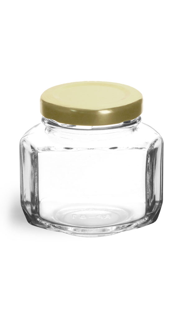 Clear Glass Oval Hexagon Jar w/ Gold Lug Caps