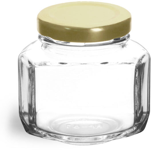 Clear Glass Oval Hexagon Jar w/ Gold Lug Caps