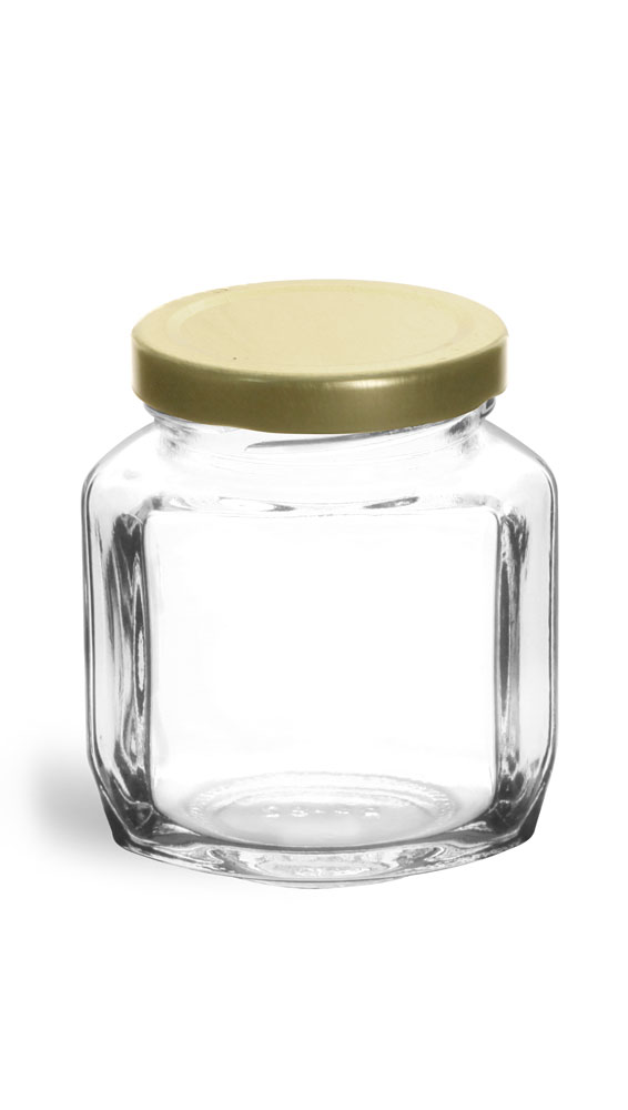 6 oz Clear Glass Oval Hexagon Jar w/ Gold Lug Caps