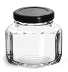 3 3/4 oz Clear Glass Oval Hexagon Jars w/ Black Metal Lug Caps