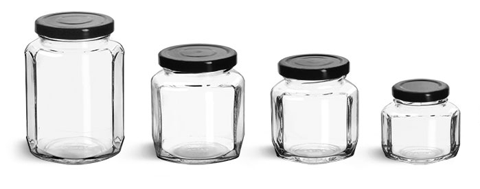 Clear Glass Jars, Clear Glass Oval Hexagon Jars w/ Black Metal Lug Caps'