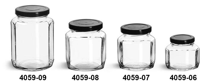 Clear Glass Jars, Clear Glass Oval Hexagon Jars w/ Black Metal Lug Caps