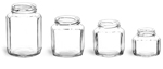 3 3/4 oz Clear Glass Oval Hexagon Jars