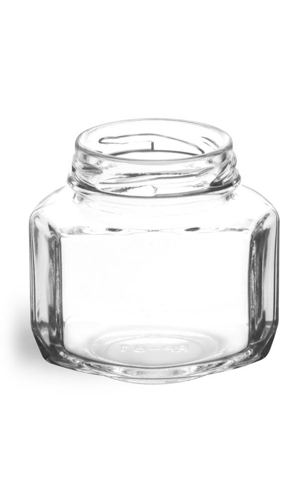 3 3/4 oz Clear Glass Oval Hexagon Jars (Bulk), Caps NOT Included