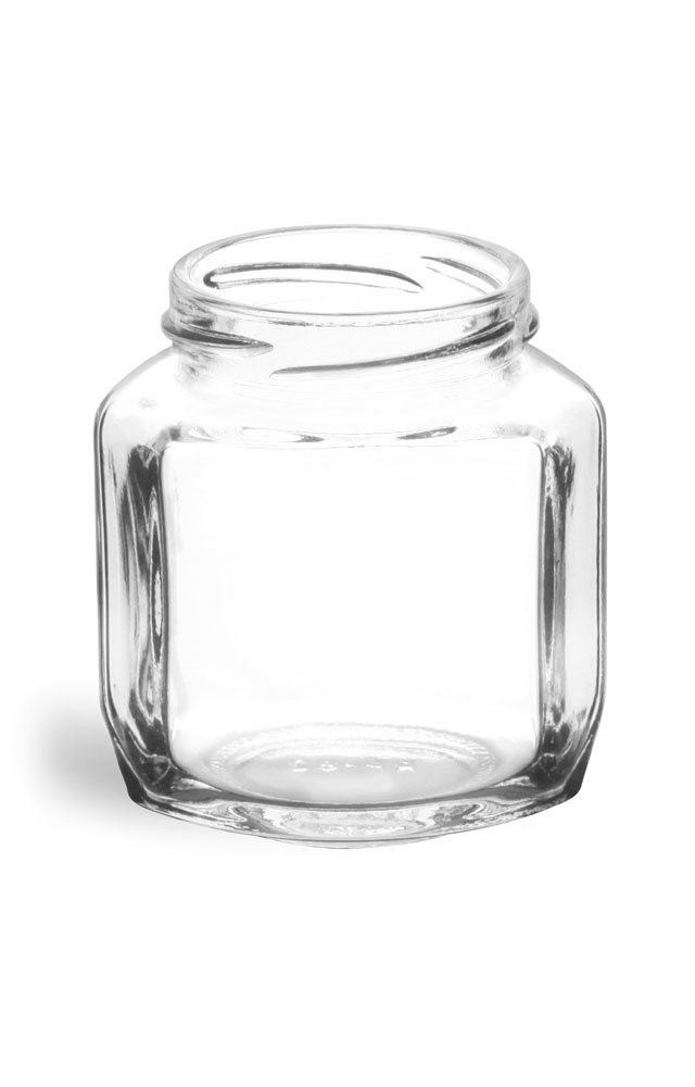 6 oz Clear Glass Oval Hexagon Jars (Bulk), Caps NOT Included