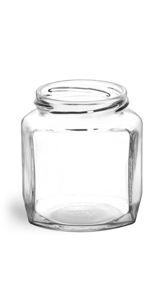 9 oz Clear Glass Oval Hexagon Jars (Bulk), Caps NOT Included