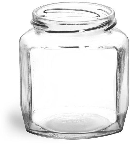 Clear Glass Oval Hexagon Jars (Bulk), Caps NOT Included