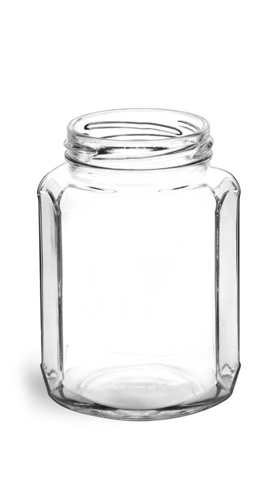 12 oz Clear Glass Oval Hexagon Jars (Bulk), Caps NOT Included