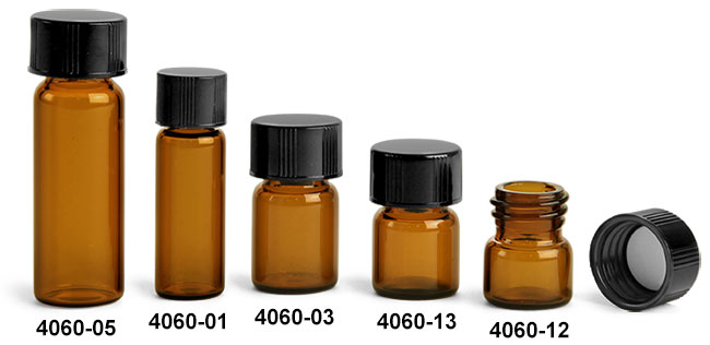 Glass Vials, Amber Glass Vials w/ Black Phenolic PV Lined Caps