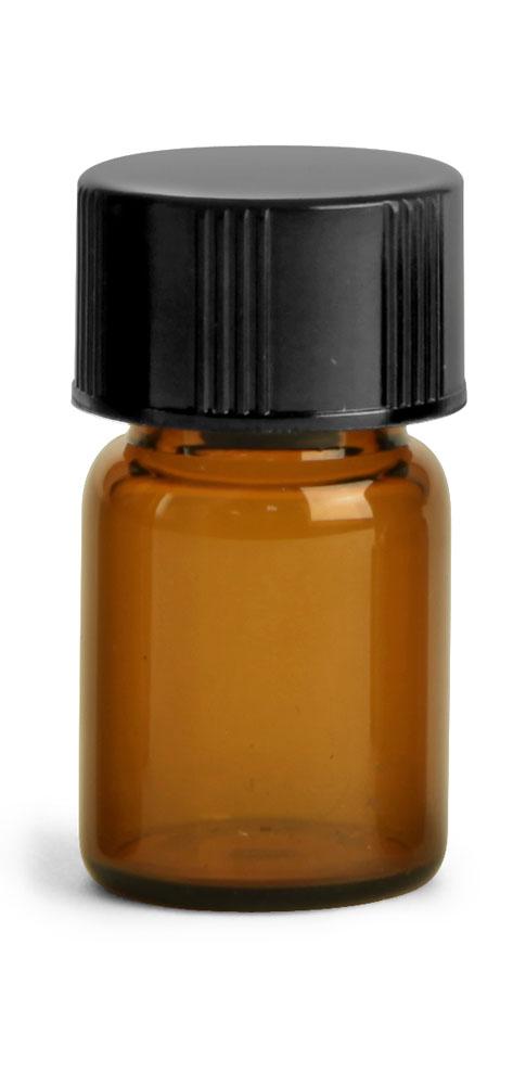 5/8 dram Amber Glass Vials w/ Black Phenolic PV Lined Caps