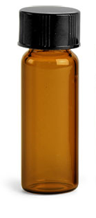1 dram Amber Glass Vials w/ Black Phenolic PV Lined Caps