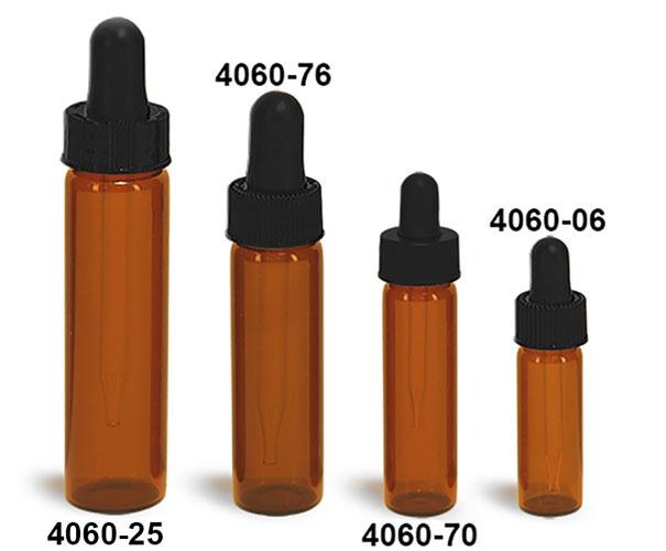 Glass Vials, Amber Glass Vials w/ Straight Black Bulb Glass Droppers