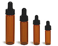 Glass Vials, Amber Glass Vials w/ Straight Black Bulb Glass Droppers