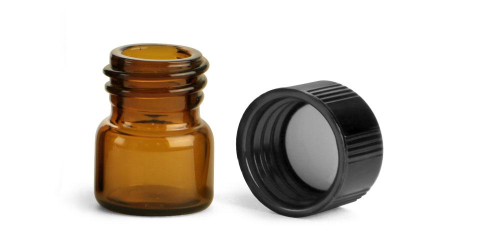 Amber Glass Vials w/ Black Phenolic PV Lined Caps