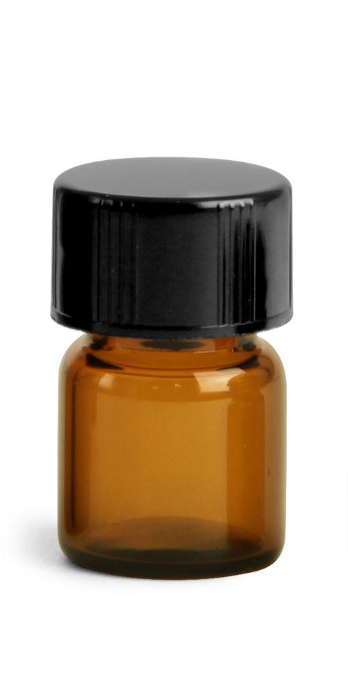 1/2 dram Amber Glass Vials w/ Black Phenolic PV Lined Caps