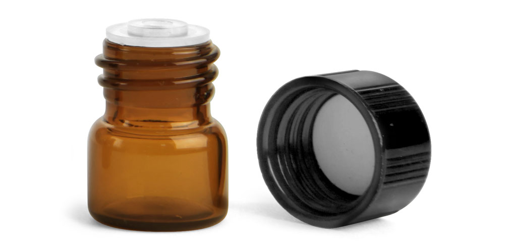 1/3 dram Amber Glass Vials w/ Black Phenolic PV Lined Caps & Orifice Reducers