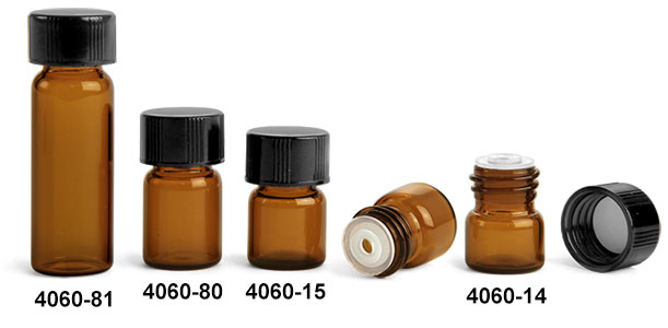 Glass Vials, Amber Glass Vials w/ Black Phenolic PV Lined Caps & Orifice Reducers