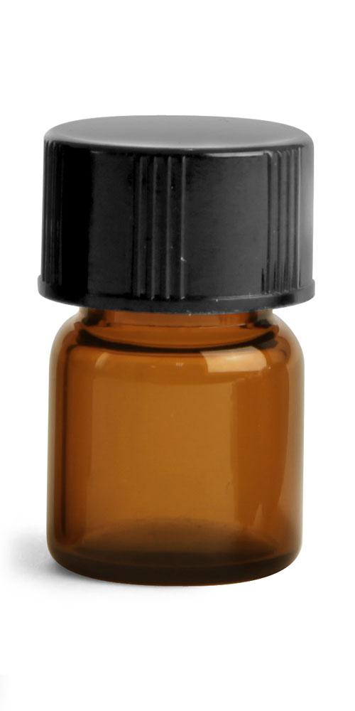 1/2 dram Amber Glass Vials w/ Black Phenolic PV Lined Caps & Orifice Reducers