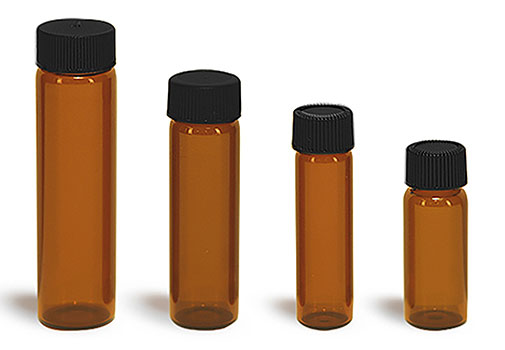 Glass Vials, Amber Glass Vials w/ Black Ribbed PE Lined Caps