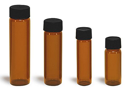 Glass Vials, Amber Glass Vials w/ Black Ribbed PE Lined Caps