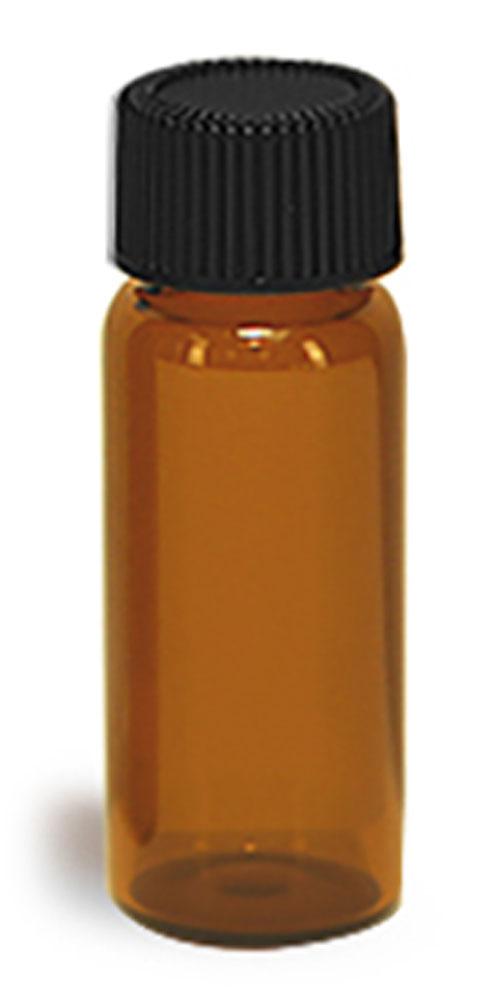 2 dram Glass Vials, Amber Glass Vials w/ Black Ribbed PE Lined Caps