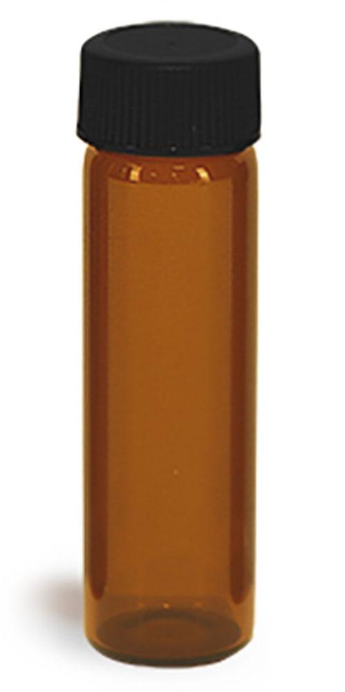 4 dram Glass Vials, Amber Glass Vials w/ Black Ribbed PE Lined Caps