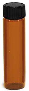 Amber Glass Vials w/ Black Phenolic Cone Lined Caps